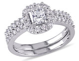 Diamond Halo Engagement Ring & Wedding Band Bridal Wedding Set 1.16 Carat (ctw Color H-I, Clarity I2-I3) in 14K White Gold
