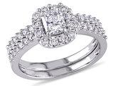 Diamond Halo Engagement Ring & Wedding Band Bridal Wedding Set 1.16 Carat (ctw Color H-I, Clarity I2-I3) in 14K White Gold