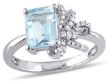 Laura Ashley Sky Blue Topaz Ring 2.0 Carat (ctw) with Diamond 1/10 ctw (Carat) in Sterling Silver