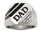 Signet DAD Ring in Polished Stainless Steel with Accent Synthetic CZ