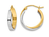 14K Two-tone White and Yellow Gold Double Hoop Earrings