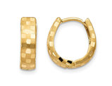 14K Yellow Gold Diamond Cut 4mm Patterned Hinged Huggie Hoop Earrings