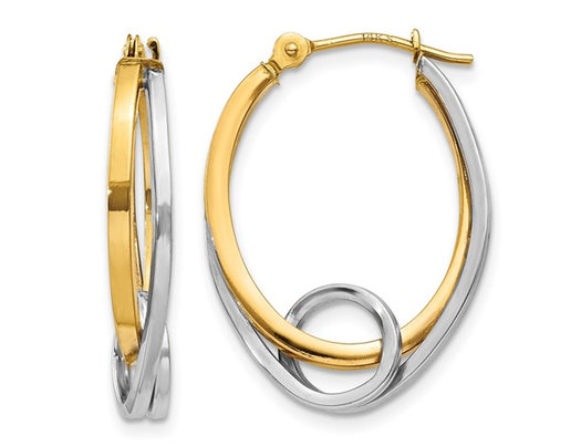 14K Yellow and White Gold Oval Hoop Earrings with Loop Ear