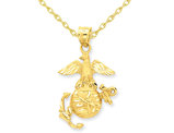 U.S. Marine Corps Pendant Necklace in 14K Yellow Gold with 18 inch chain