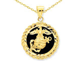 U.S. Marine Corp Charm Pendant Necklace in 14K Yellow Gold with Black Onyx with Chain