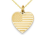 14K Yellow Gold Heart Shaped American Flag Charm Pendant Necklace with Chain
