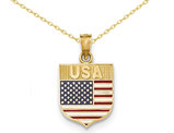14K Yellow Gold Enameled USA Flag Pendant Necklace with Chain
