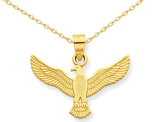 American Eagle Pendant Necklace in Polished 14K Yellow Gold