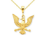 American Eagle Charm Pendant Necklace in 14K Yellow Gold with Chain
