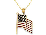 14K Yellow Gold Enameled Flag Pendant Necklace with Chain