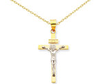 INRI Crucifix Cross Pendant Necklace in 14K Yellow and White Gold with Chain