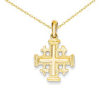 Jerusalem Cross Pendant Necklace in 14K Yellow Gold with Chain
