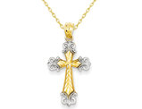 14K Yellow and White Gold Cross Pendant Necklace with Chain