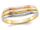Ladies 14K Yellow, White and Rose Pink Gold Fancy Band Ring
