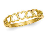 14K Yellow Gold High Polished Heart Band Promise Ring