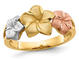 Ladies 14K Yellow, White, Pink Tri-color Plumeria Gold Ring