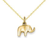 Elephant Charm Pendant Necklace in 14K Yellow Gold with Chain