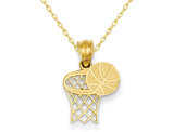 14K Yellow Gold Basketball & Hoop Pendant Necklace with Chain