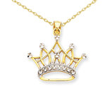 14K Yellow and White Gold Crown Pendant Necklace with Chain