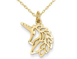 14K Yellow Gold Unicorn Head Pendant Necklace with Chain
