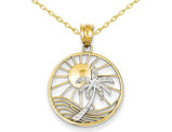 14K Yellow and White Gold Sun & Palm Tree Charm Pendant Necklace with Chain
