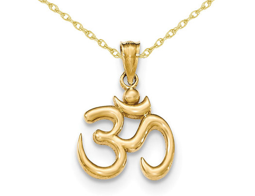 Ohm Symbol Pendant Necklace in 14K Yellow Gold