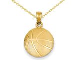 Basketball Pendant Necklace in 14K Yellow Gold with Chain