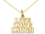 Live ,  Love , Laugh Charm Pendant Necklace in 14K Yellow Gold with chain
