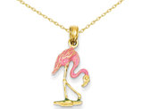 Enameled Pink Flamingo Pendant Necklace 14K Yellow Gold