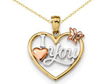 I Love You Heart with Butterfly Pendant Necklace in 14K Yellow & Rose Gold