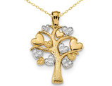 14K Yellow and White Gold Tree of Life with Hearts Pendant Necklace with Chain