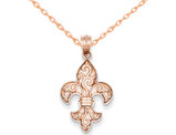 Fleur De Lis Pendant Necklace in 14K Rose Gold with Chain