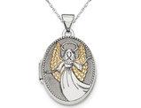 Oval Guardian Angel Locket in Sterling Silver