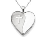 Sterling Silver Cross Heart Shaped Locket Pendant Necklace in