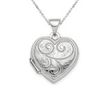 Heart Patterned Locket Pendant Necklace in Sterling Silver