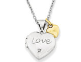 Heart Charm and Heart Locket Pendant Necklace in Sterling Silver with Gold Plating