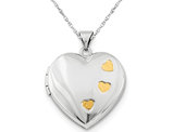 Sterling Silver Heart Locket Pendant Necklace with Chain