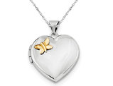 Heart Butterfly Locket in Sterling Silver and Gold Plated Butterfly