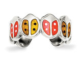 Red and Orange Enameled Ladybug Toe Ring in Sterling Silver