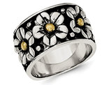 Ladies Antiqued Flower Daisy Ring in Sterling Silver with 14K Yellow Gold Center