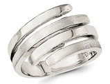 Ladies Polished and Brushed Fashion Ring in Sterling Silver