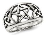 Ladies Oxidized Star Ring in Sterling Silver