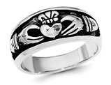 Ladies Antiqued Claddagh Ring in Sterling Silver
