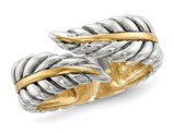 Ladies Antiqued Leaves Bypass Ring in Sterling Silver with 14K Gold
