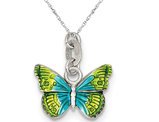 Colorful Enameled Butterfly Charm Pendant Necklace in Sterling Silver