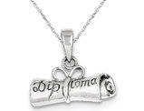 Rolled-Up Diploma Charm Pendant Necklace in Sterling Silver