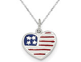 Enamel American Flag Heart Pendant Necklace in Sterling Silver
