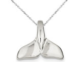 Whale Tail Charm Pendant Necklace in Sterling Silver with Chain