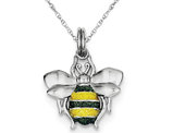 Green & Yellow Enamel Bee Charm Pendant Necklace in Sterling Silver