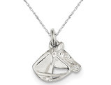 Horse Head with Bridle Charm Pendant Necklace in Sterling Silver